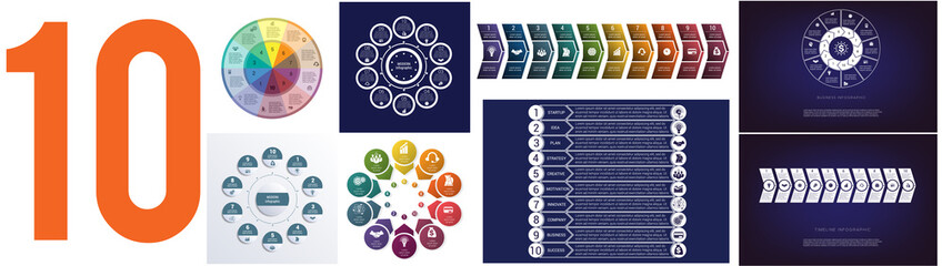 Set 8 universal templates for Infographics conceptual cyclic processes for 10 positions possible to use for workflow, banner, diagram, web design, timeline, area chart,number options