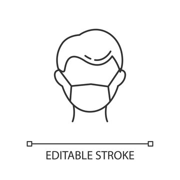 Disposable medical mask linear icon. Common cold. Contagious disease. Respiratory problem. Medical worker. Thin line illustration. Contour symbol. Vector isolated outline drawing. Editable stroke