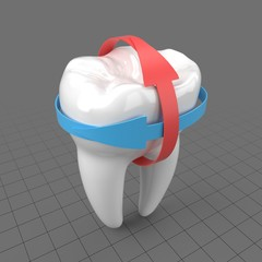 Stylized molar tooth with arrows 2