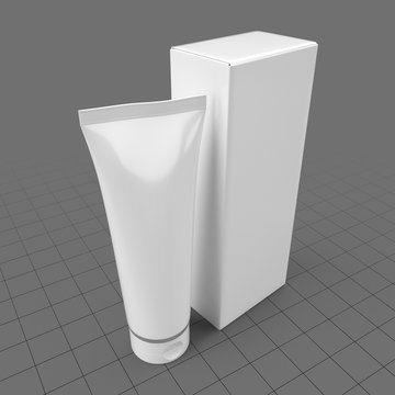 Plastic tube container with box 1