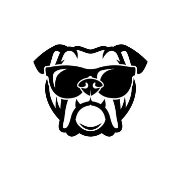 English bulldog wearing sunglasses - isolated outlined vector illustration - Vector
