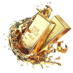 Golden ingot bars with splash of gold isolated on white background.