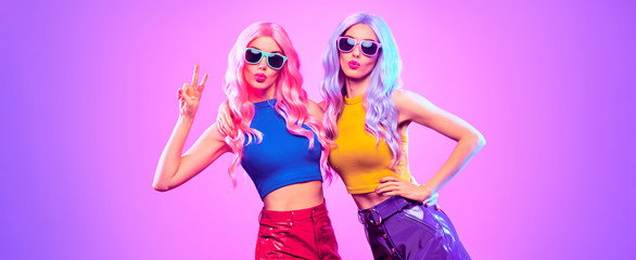 Gorgeous Disco Party girl with Having Fun, neon style. Pink Purple hairstyle. High Fashion. Two...