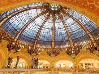 Paris, France - April 2019: la fayette commercial center roof indoor view