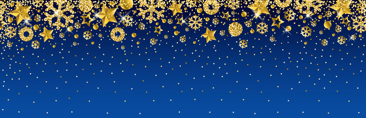Wall Mural - Blue christmas banner with golden glittering snowflakes and stars. Merry Christmas and Happy New Year greeting banner. Horizontal new year background, headers, posters, cards, website.Vector