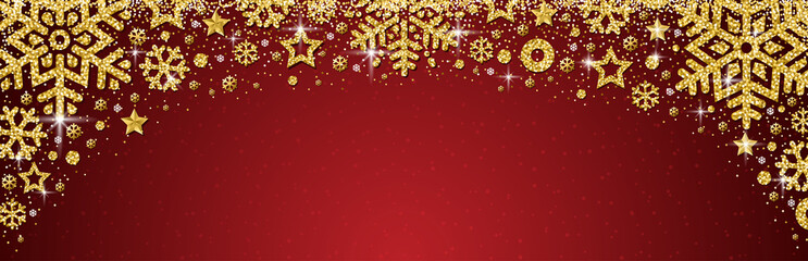 Wall Mural - Red christmas banner with golden glittering snowflakes and stars. Merry Christmas and Happy New Year greeting banner. Horizontal new year background, headers, posters, cards, website.Vector