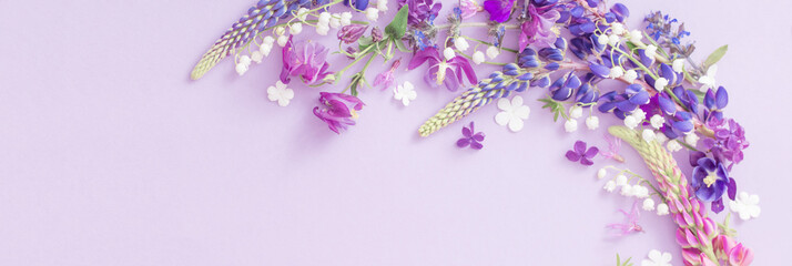 purple, blue, pink flowers on paper background