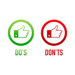 check marks ui button with dos and donts. flat simple style trend modern red and green checkmark.