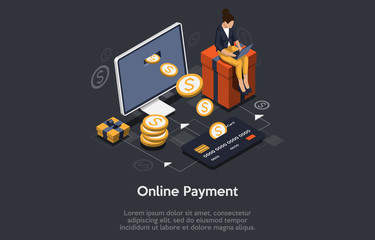 Isometric online payment concept. Internet payments, online banking. Vector illustration