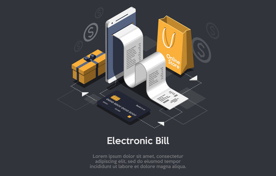 Concept of electronic bill and online bank, laptop with check tape. 3d isometric vector illustration.