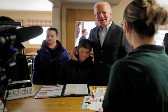 Democratic 2020 U.S. presidential candidate Biden orders lunch at Kirby's Cafe in Emmetsburg