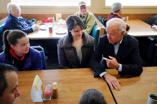 Democratic 2020 U.S. presidential candidate Biden eats lunch at Kirby's Cafe in Emmetsburg