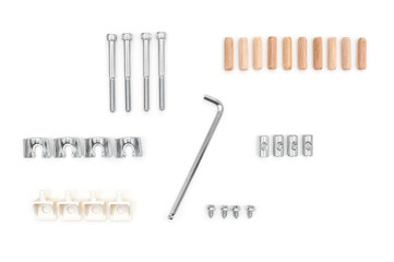 Set of fasteners isolated on white background