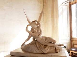 Paris, France - April 2019: Psyche Revived by Cupid's Kiss sculpure of Antonio Canova in louvre musem