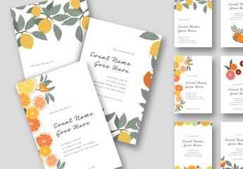 Colorful Illustrative Fruit Invitations Layouts