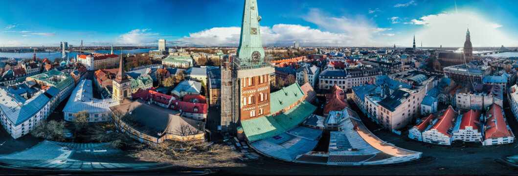 Riga City Church in Old Town, Historical Monument, drone 360 vr Panorama