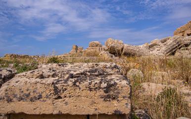 Recess Fitting Ruins Selinunt Antic Greek City