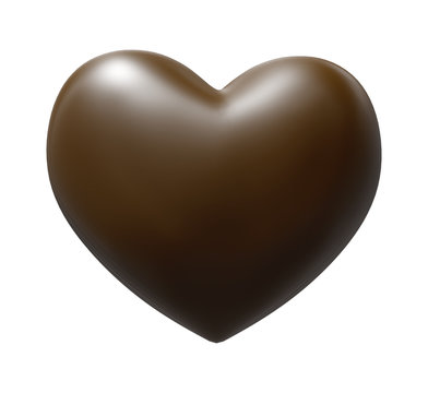 Brown Chocolate Heart with clipping path - 3D illustration