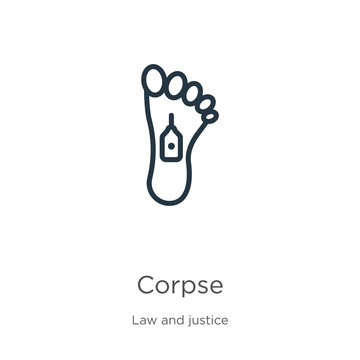Corpse icon. Thin linear corpse outline icon isolated on white background from law and justice collection. Line vector corpse sign, symbol for web and mobile