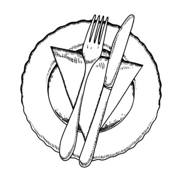 cutlery in a napkin with a bow and a plate. fork and knife vector sketch on a white background