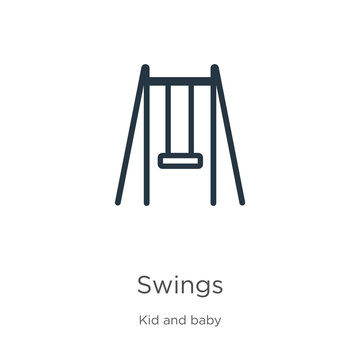 Swings icon. Thin linear swings outline icon isolated on white background from kid and baby collection. Line vector swings sign, symbol for web and mobile