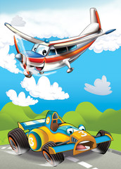Recess Fitting Cars cartoon scene with happy and funny sports car and plane illustration for children