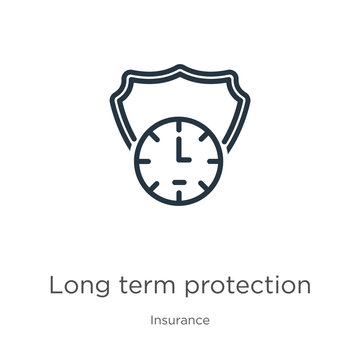 Long term protection icon. Thin linear long term protection outline icon isolated on white background from insurance collection. Line vector long term protection sign, symbol for web and mobile