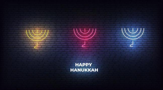 Menorah neon sign set. Glowing decorations for Jewish holiday Hanukkah