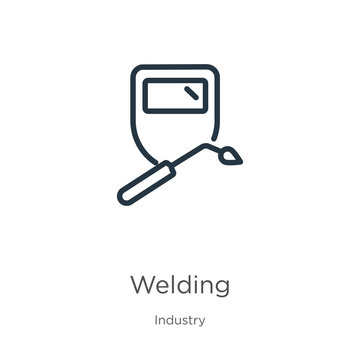 Welding icon. Thin linear welding outline icon isolated on white background from industry collection. Line vector welding sign, symbol for web and mobile