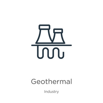 Geothermal icon. Thin linear geothermal outline icon isolated on white background from industry collection. Line vector geothermal sign, symbol for web and mobile