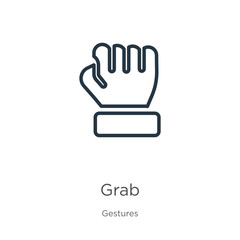 Grab icon. Thin linear grab outline icon isolated on white background from gestures collection. Line vector grab sign, symbol for web and mobile