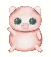 Kawaii cartoon cute pig with big eyes isolated on white background. Watercolor hand drawn illustration