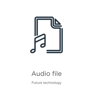 Audio file icon. Thin linear audio file outline icon isolated on white background from future technology collection. Line vector audio file sign, symbol for web and mobile