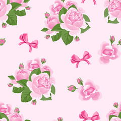 Roses flowers and bows on a pink background. Floral seamless pattern. Cute vector illustration with beautiful bouquets in cartoon simple flat style.