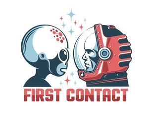 Alien and astronaut in space helmet face-to-face. First contact retro concept. Vintage print style illustration.
