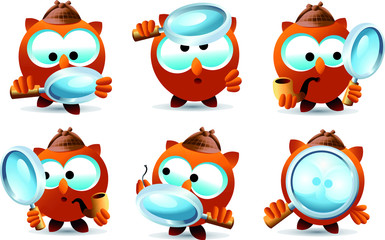 Wall Murals Owls cartoon Set of detective owl characters with magnifying glass, investigating. Full vector illustration.