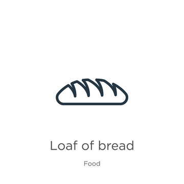 Loaf of bread icon. Thin linear loaf of bread outline icon isolated on white background from food collection. Line vector loaf of bread sign, symbol for web and mobile
