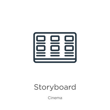 Storyboard icon. Thin linear storyboard outline icon isolated on white background from cinema collection. Line vector storyboard sign, symbol for web and mobile
