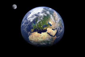 earth in deep space - earth and moon, CGI 3D illustration