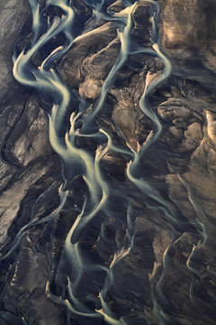 River twists, the aerial shot was taken in Iceland from a plane