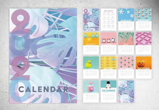 Colorful Wall Calendar Layout
