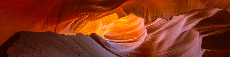 Foto op Plexiglas Antilope Panoramic glowing rocks in colorful Antelope Canyon near Page, Arizona. Travel concept.