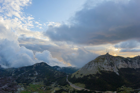 Mountain view on the hydrometeorological station in Lovcen national park at sunset, Montenegro
