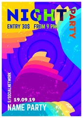 Modern party poster.Party poster template.Geometric banner design.Bright vector illustration.Music wave poster.Geometric colorful gradient.Abstract backgtound.Flyer design. Gradient party flyer.