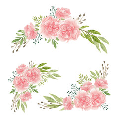 Set of carnation flower bouquet in watercolor hand painted