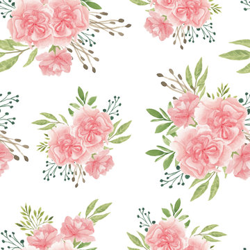 Watercolor seamless pattern with carnation flower bouquet