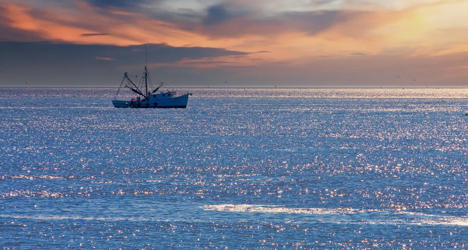 A shrimp boat off the coast in the morning