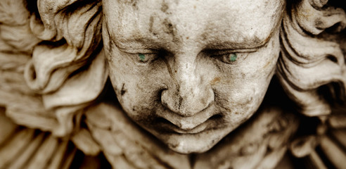 Fototapete - Death. Close up sad face of angel as symbol of pain, fear and end of life. Ancient sculpture.