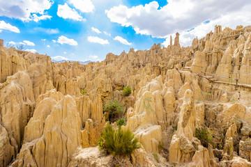 Moon Valley or Valle De La Luna eroded sandstone spikes panorama near La Paz, Bolivia