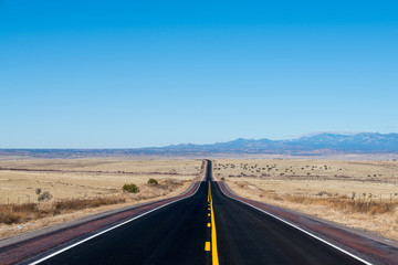 Desert highway in a vast barren landscape with distant mountains